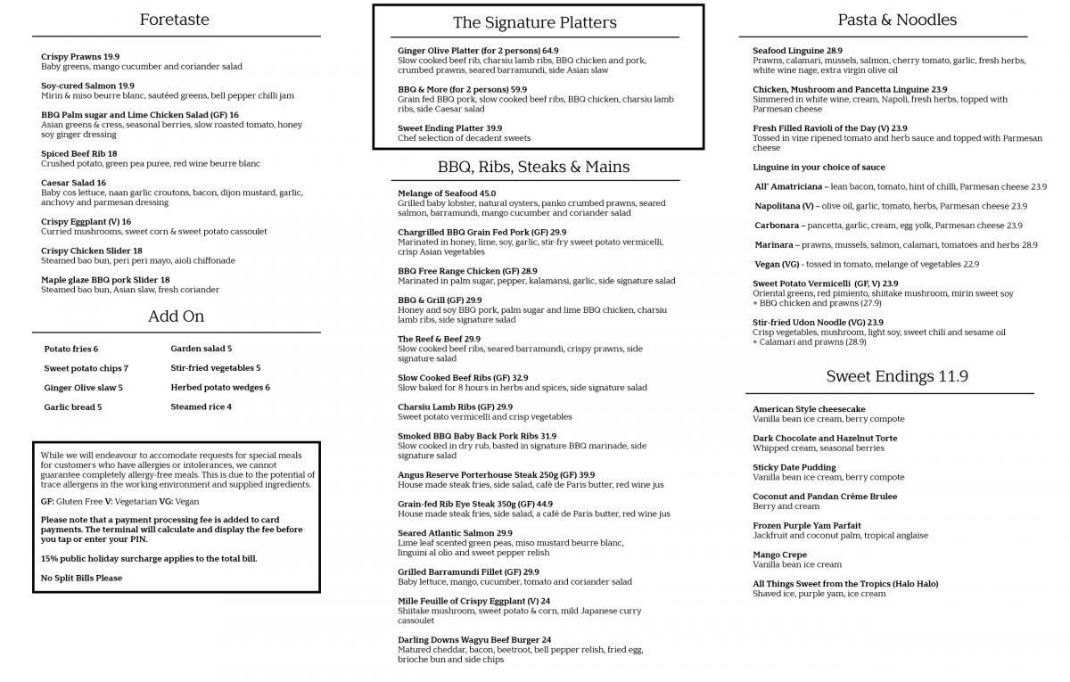 Steaks, Salad, BBQ, Ribs, Pasta - Grill Menu Melbourne CBD